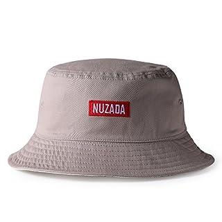 Aituo Doppelseitiger Fischerhut, Gestickter Hut, Eimer Hüte, Schlichter Hut, Winddichte Sonnenblende, Unisex (Grau)
