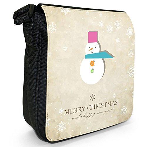 Weihnachts- & Neujahrswünsche Kleine Schultertasche aus schwarzem Canvas Abstrakter lächelnder Schneemann