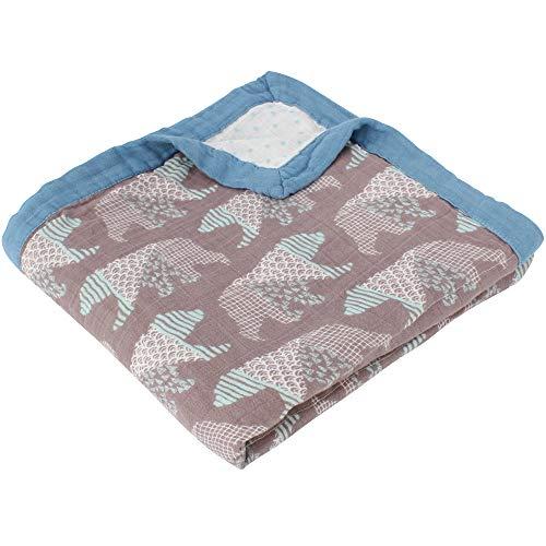 LifeTree Kuscheldecke Babydecke 115cm x 115cm - Weichen Musselin Bambus Baumwolle Baby Decken Doppelte Schichten Pucktücher für Kinder