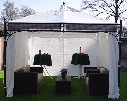 Pabellón con cuatro paredes laterales | Blanco | 350 x 350 cm | SORARA | Poliéster de 250 g/m² (UV 50+)| Para jardín, patio, exterior | Carpa para fiestas