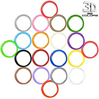 AFUNTA 20 Colori 5M / 20G / PCS Stampa 1.75mm ABS 3D Filamenti Per Penna Stampa 3D / Disegno 3D Penna
