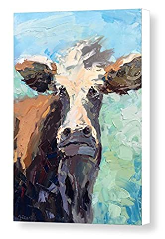 Cow Prints on Canvas Ready to Hang Face Animal Artwork Folk Colorful Portrait Original Country Wall Art Home Decor Rustic Country Kitchen Decoration Gifts Men Women Christmas Gifts - Agostino