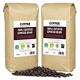 Coffee Masters Triple Certified, Organic, Fairtrade, Arabica Coffee Beans (4x1kg) - GREAT TASTE WINNER 2018