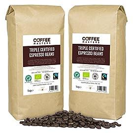 Coffee Masters Triple Certified, Organic, Fairtrade, Arabica Coffee Beans (4x1kg) – Great Taste Winner 2018