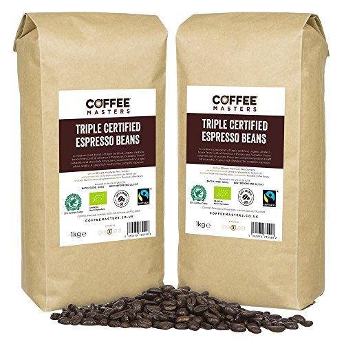 Coffee Masters Granos de Café Arábigo con Triple Certificación, Orgánico, Fairtrade, 4x1kg - GANADOR DEL PREMIO GREAT TASTE 2018