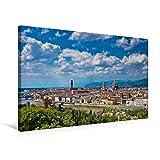 Calvendo Premium Textil-Leinwand 75 cm x 50 cm Quer, Blick über Florenz | Wandbild, Bild auf Keilrahmen, Fertigbild auf Echter Leinwand, Leinwanddruck: Italien Orte Orte
