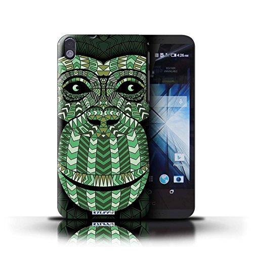 Kobalt® Imprimé Etui / Coque pour HTC Desire 816 / éléphant-Rouge conception / Série Motif Animaux Aztec Singe-Vert