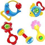 SODIAL(R) Weihnachtsgeschenk 5 Stueck Tier kostbare Glocken klappern Spielzeug fuer Kinder Baby Entwicklung