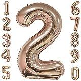 Backbuy 40 Zoll Riese Helium Folie Nummer 0-9 Roségold Ballon Geburtstag Hochzeitsfeier Digitale Dekorationen Nummer 2
