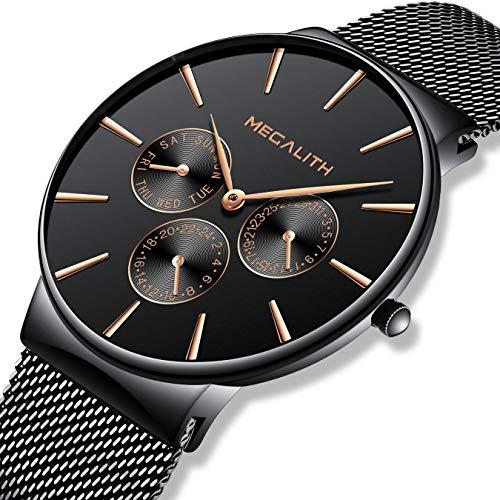 Herren Uhren Schwarz Männer Edelstahl Mesh Wasserdicht Luxus Geschäft Uhr Klassisch Kleid Datum Kalender Einfache Designer Analoge Quarzuhr Uhren für Männer