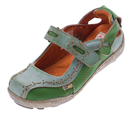 Damen Leder Ballerina Schuhe TMA EYES 1601 Sandalen viele Farben Zeitungsdruck Gr 36-42 Grün