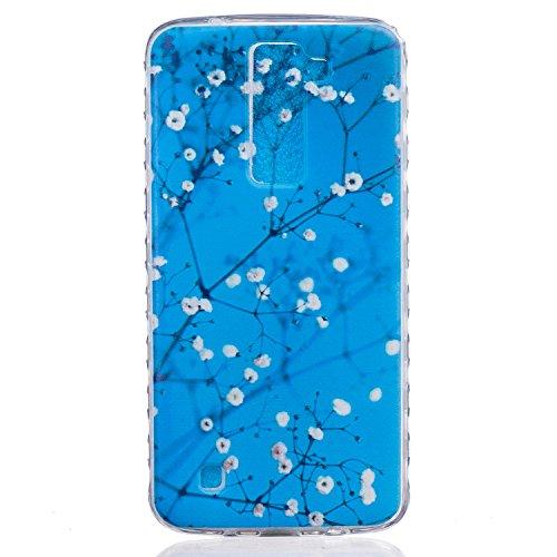 Cozy Hut Crystal Case Hülle für LG K7 aus TPU Silikon mit Plum öffnen Design - Schutzhülle Cover klar in blau Weiß Transparent - Plum Blume