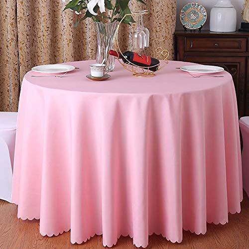 CCSUN Runde Küche Tablecloth, Solide Polyester Tischdecke Für Hochzeits-Party Restaurant Home Square Tablecloth-rosa Durchmesser280cm(110inch) (Square Marine Blau Tischdecke)