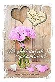 Hochzeitskarte mit Anhänger | Hochzeit Karte |Herz aus Holz | Ewig uns | Karte Hochzeit im Set | Karte in Folie | Karte ohne Innentext | DIN A 6 | Klappkarten inkl. Umschlag | Motiv: Zusammen