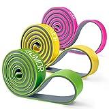 4UMOR Bande de Résistance Musculation en Latex Bande d'Exercice pour Fitness, Crossfit, Yoga, Traction, Elastique d'Entraînement Corps, Jambes, Fessiers, Homme/Femme - 6.75-45 kg(Rose+Jaune+Vert)