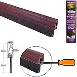 STORMGUARD B01CR7TC70 Joint de porte en bas avec couvercle de fixation dissimulé et brosse couleur assortie Effet bois foncé 838 mm/33 Chrome
