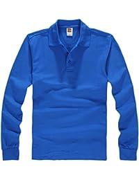 f0b1fe42dd9 Bigood T-Shirt Coton Homme Col Chemise Manche Longue Veste Automne Hiver  Casual Mode