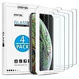 [4 Stück] OMOTON Schutzfolie für iphone X & iphone XS Mit Positionierhilfe Bildschirmschutzfolie für iphone X/XS 9H Härte, Anti-Kratzen, Anti-Öl, Anti-Bläschen.