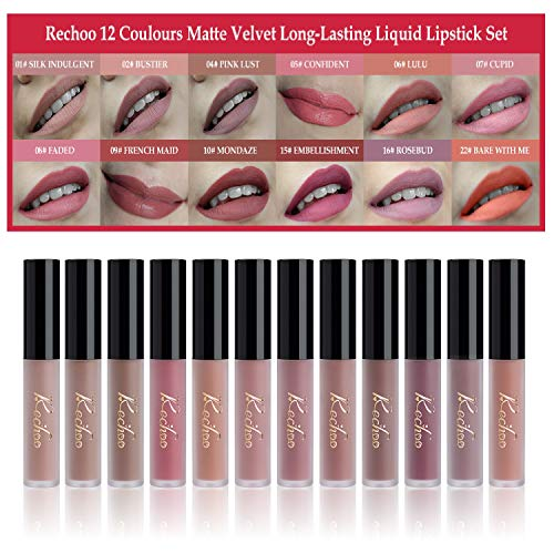Rechoo Liquid Lipstick Set, 12 Colours Matte Lip Gloss Waterproof Long Lasting Beauty Lips Makeup Kit (TOP BEAUTY)