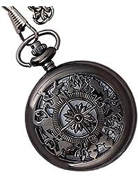 Lmp3Creation Black Classic Vintage Retro Antique Skeleton Hollow Pocket Watch With Chain For Unisex (Pow-0001)