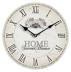 Idea Regalo - Premier Housewares 2200542 Orologio da Parete, Home Sweet Home, MDF, beige, pvc, rotonda