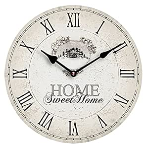 Premier housewares mdf home sweet home wall clock kitchen home - Orologi da parete shabby chic ...