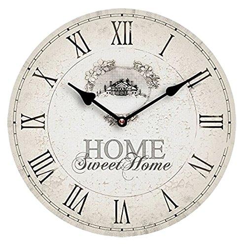 Premier Housewares 2200542 Orologio da Parete, Home Sweet Home, MDF, beige, pvc, rotonda