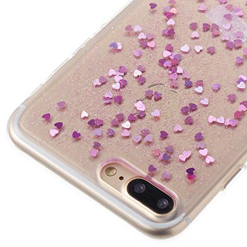 Coque iPhone 7 Plus ,Coque iPhone 8 Plus, Camiter rosé Dégradé Protection Dorsale Etui Slim Housse Cover Premium TPU Case Pour Apple iPhone 7 Plus /iPhone 8 Plus + Chiffon de nettoyage gratuit cœur Lavande