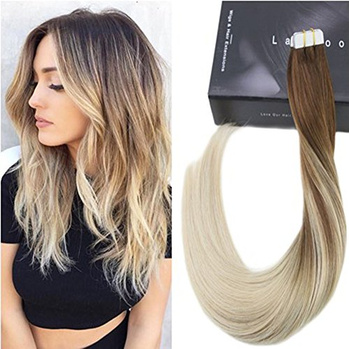 Laavoo 14pollice real hair extension adesive invisibile balayage marrone scuro a bionda platino seamless tape in hair extensions veri umano dritto 50g/20pcs