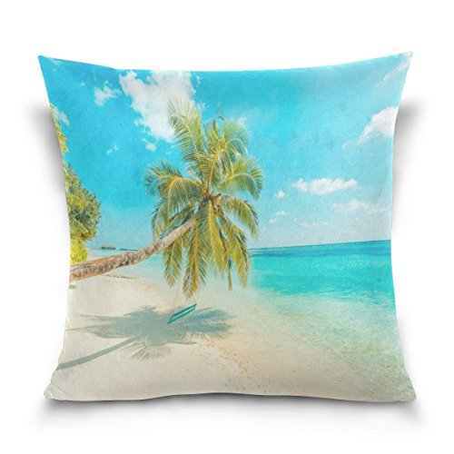 NDJHEH kissenbezüge Tropical Palm Tree Landscape Cotton Pillowcase 18 X 18 Inches Twin Sides, Beach Ocean Sea Scene Pillow Case Sham Cover Protector Decorative for Home Hotel Couch Ded -