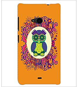 PrintDhaba Funny Owl D-3543 Back Case Cover for MICROSOFT LUMIA 535 (Multi-Coloured)