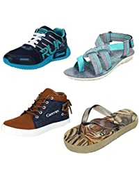 Earton Men Combo Pack Of 4 Sports Shoes & Casual Shoe With Sandals & Slippers
