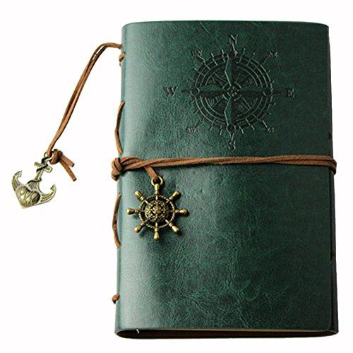 Notizbücher Student,iSpchen Retro Kreative Notizbücher Notepad Pirate Straps Männer Frauen Nautical Leder Tagebuch Memo Notizbücher Grün EINWEG