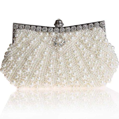 KAXIDY Borsa Pochette Borsa Sacchetto Cerimonia Perline Perle Donne Eleganti Pochette Sera Spalla (Bianco)