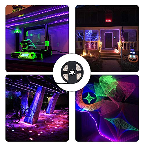 JoyGood wasserdichter UV Schwarzlicht LED Streifen 5 Meter mit 300 Stück 3528 UV-SMD, 12V Netzteil und IP65 Zertifizierung. Lichterkette / Lichtstreifen - 5