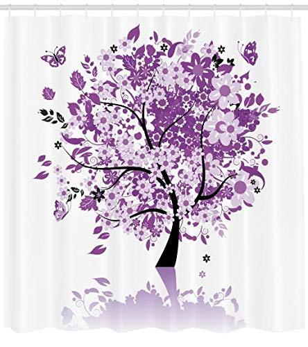ABAKUHAUS Natur Duschvorhang, Heiliger Baum des Lebens, mit 12 Ringe Set Wasserdicht Stielvoll Modern Farbfest und Schimmel Resistent, 175 x 200 cm, Lila lila - Lila Duschvorhang