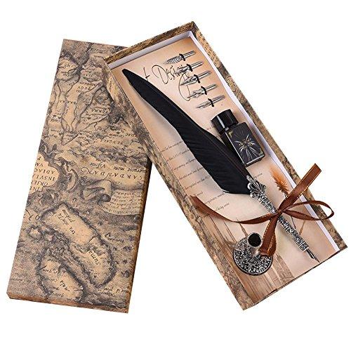 Penna stilografica schreibfeder antichità a molla, Kiel Dip Pen Pennino Penna Kiel penna pennino, inchiostro, Penna porta + 5* testa, Nero