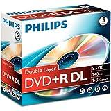Philips DVD+R DR8S8J05C - DVD+RW vírgenes (8,5 GB, DVD+R DL, 240 min)