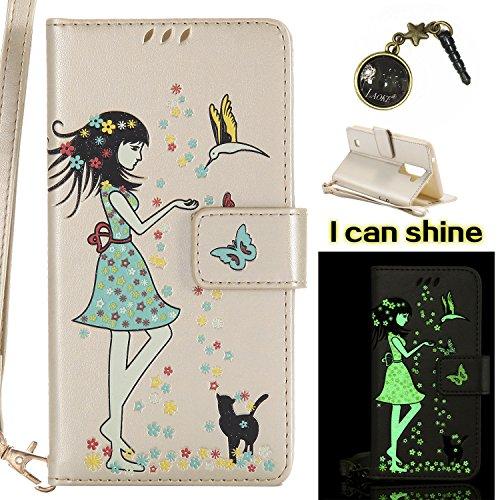 für LG K10 (2016) Hülle Flip-Case Premium Kunstleder Tasche im Bookstyle Klapphülle mit Weiche Silikon Handyhalter Lederhülle für für LG K10 /2016(5.3 Zoll) Luminous Mädchen Katze case Hülle +Stöpsel Staubschutz (3)