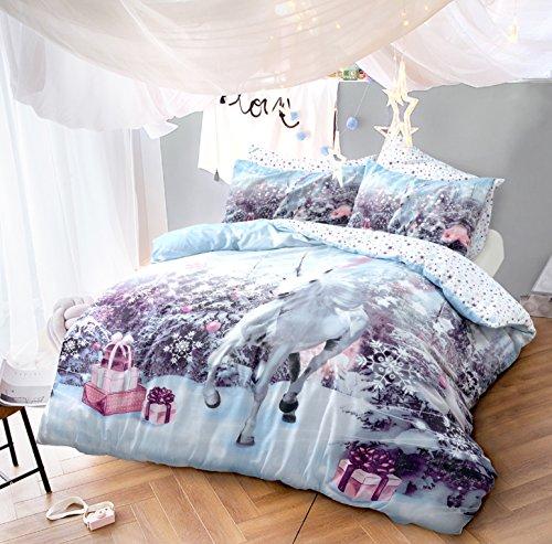 Linen galaxy, set natalizio con copripiumino e federe, in policotone, motivo: babbo natale, cani husky festosi, unicorno, elfo, xmas unicorn, doppio