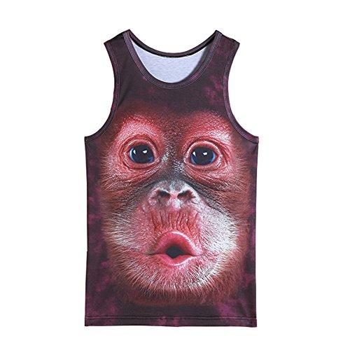 Männer 3D gedruckte Tier Weste Mode Neuheit Lustige Tank Tops Casual Sleeveless T-Shirt (Affe, XXL)