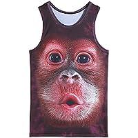 Hombres 3D Impreso Animal chaleco Moda Novedad Funny Tank Tops Casual sin mangas T-shirt (Mono, XL)