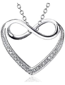 Infinity Love in Herz 925Sterling Silber Anhänger Halskette, Halsketten für Frauen Mädchen 45,7cm O Kette, Zirkonia...