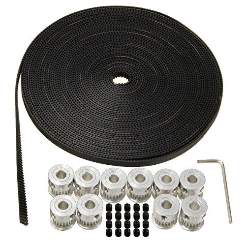 MOHOO 8pcs GT2 Zahnriemen Riemenscheibe 20 Zähne Bohrung 5mm + 10M GT2 Riemen 3D Drucker Teile