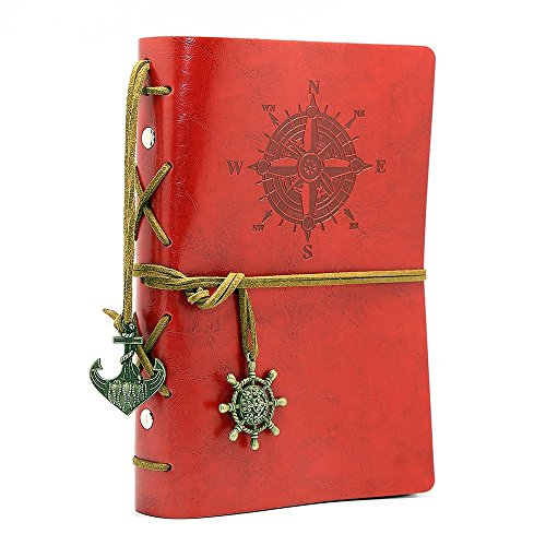 NectaRoy Vintage Retro Pu Leather Cover Notebook Writing Journal Diary, Vintage Nautical Spiral Blank String Daily Notepad Travel to Write in, Unlined Paper, Retro Pendants, Classic Embossed, Loose Leaf
