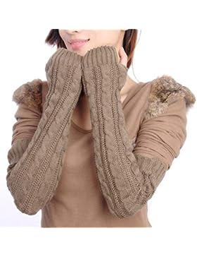 Butterme Della donna lana extra lunghi Guanti senza dita elastico Manicotti invernali Guanti in maglia a maglia...
