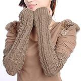 Butterme Frau Damen Wolle Extra lange Fingerless Handschuhe Dehnbar Armlinge Winter Wärmer Strick Handschuhe Gestricktes Fingerlose Armstulpen Fäustlinge