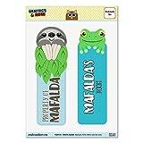 Lot de 2plastifié brillant paresseux et grenouille signets–noms femelle Mab-maj Mafalda