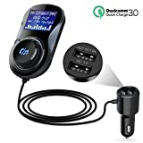 FM Transmitter, Kitbeez Bluetooth Car MP3 Player Radio Adapter Hands Free Talking Car Kit with QC3.0 USB Port ,1.44 Inches Screen, TF Card Slot, Supports Display Car Battery Voltage for IOS and Android Smartphones.