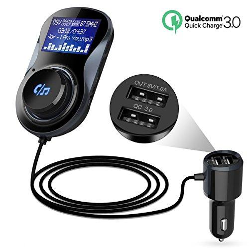 Bluetooth FM Transmitter, Kitbeez KFZ Auto Radio Adapter Car Kit mit Mikrofon, Dual USB QC 3.0 Ladegerät, 1.44 Zoll Display, TF Karte Slot, Hands Free Call für Handy IOS und Android Smartphones